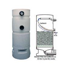 AquaForte Shower Flter met 300 micron zeefbocht en Crystal Bio Media