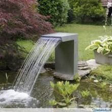 Ubbink Waterval Straight 30 cm Breed met leverlichting RVS